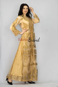 Amazing Indian Style Golden Embroidered 2 Pieces Dress