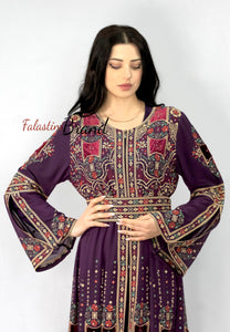 New Elegant Purple Palestinian Embroidered Henna Thobe Dress