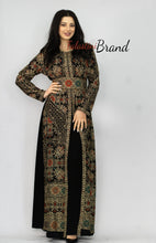 Stylish 2 Pieces Black Palestinian Embroidered Kaftan Dress