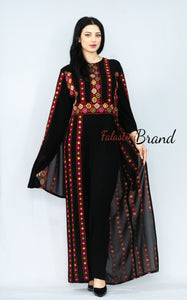 Stylish Black and Red Jumpsuit Dress Floral Palestinian Embroidery