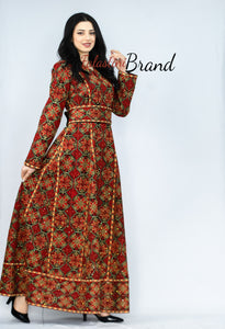 Red Full Embroidered Princesses Palestinian Bridal Henna Thobe Dress