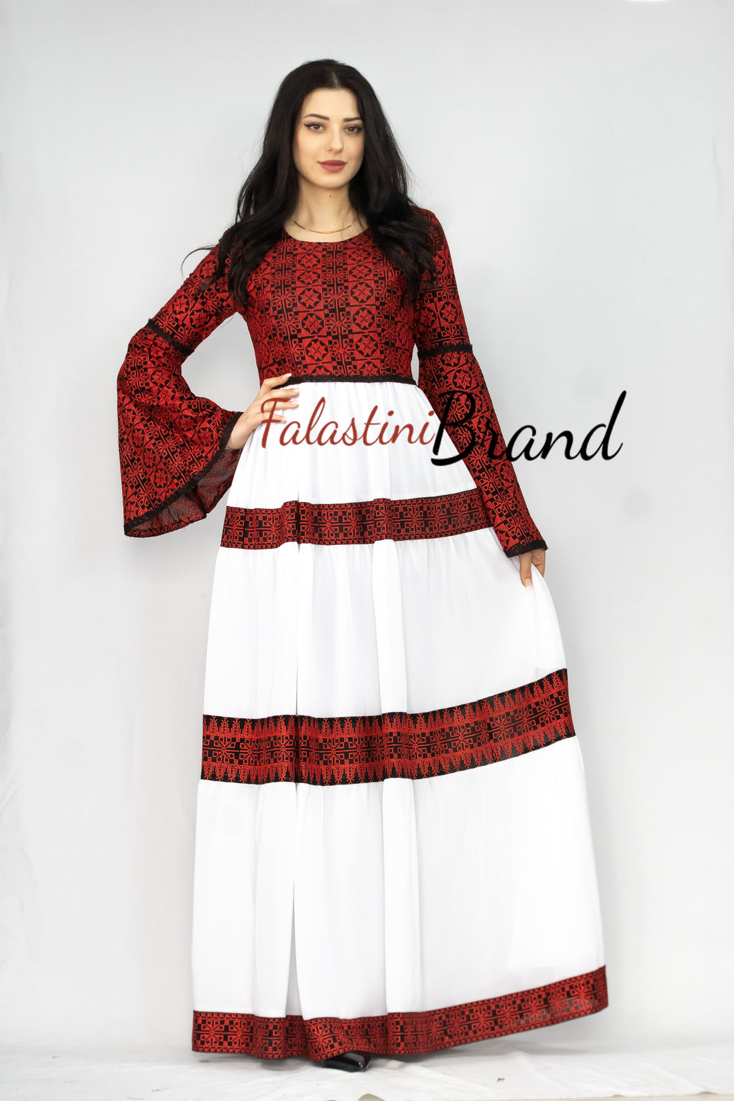 Stunning White Cloche Long Dress Palestinian Embroidery