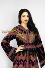 Wonderful Black Satin Queen Thobe Embroidered Palestinian Dress