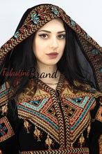 Wonderful Traditional Like Black Satin Queen Thobe Embroidered Palestinian Dress