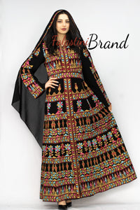 Black Golden Red Queen Thobe Embroidered Palestinian Dress