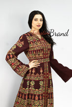 Burgundy Golden Queen Thobe Embroidered Palestinian Dress