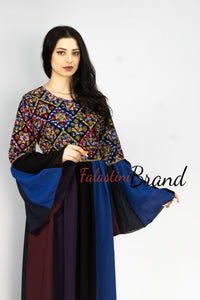 Stunning Blue Rainbow Cloche Dress Palestinian Embroidery