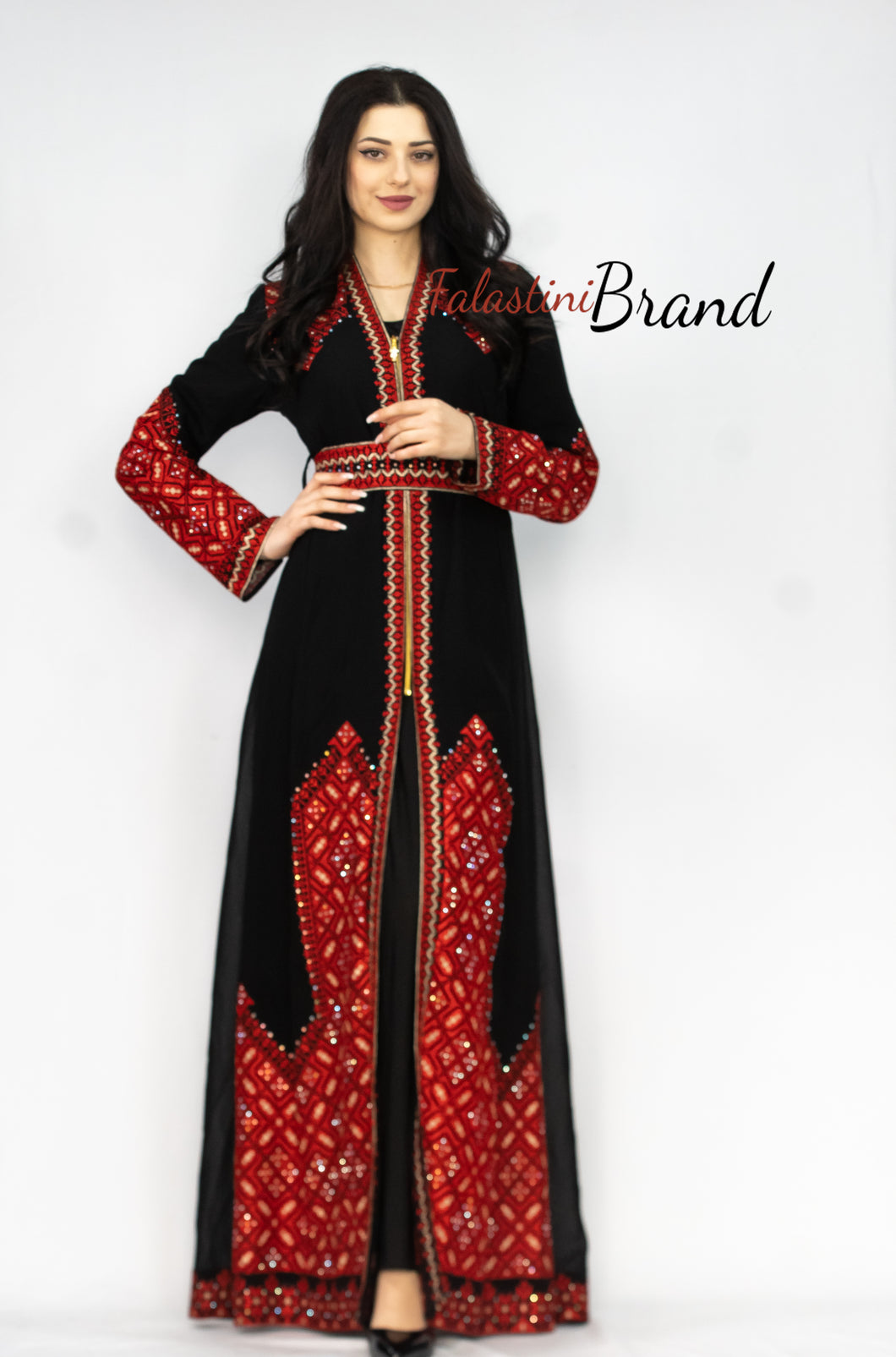 Marvelous Black and Red Palestinian Embroidered Kaftan Dress