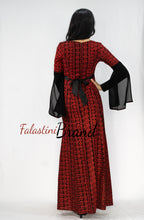 Stylish Fish Cut Black and Red Palestinian Embroidered Dress