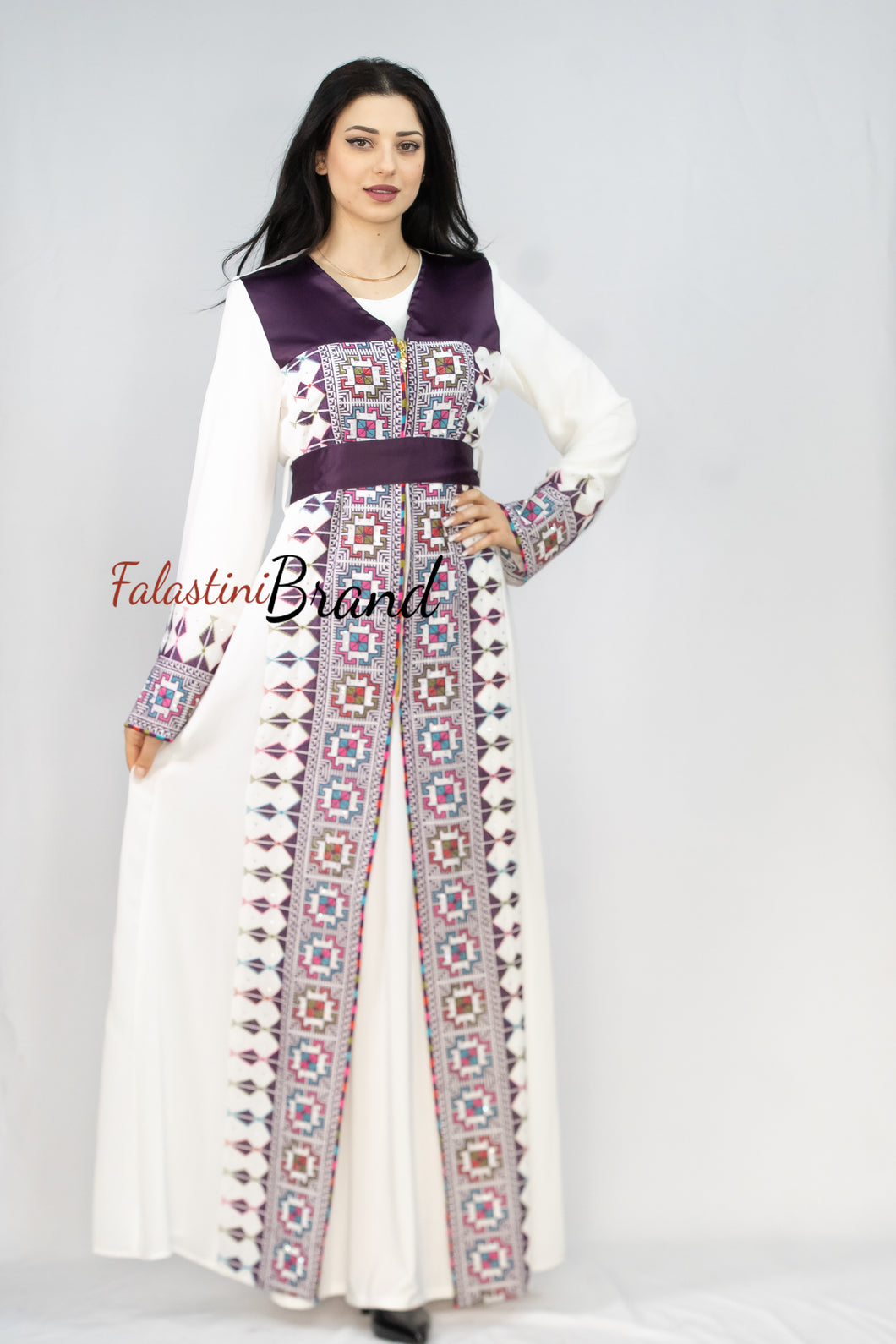 Amazing 2 Pieces White and Purple Palestinian Embroidered Open Abaya