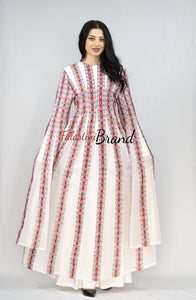 Amazing White and Strawberry Color Palestinian Manajil Embroidered Dress