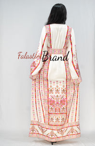White Classy Palestinian Embroidered Thobe Dress With Multicolored Embroidery