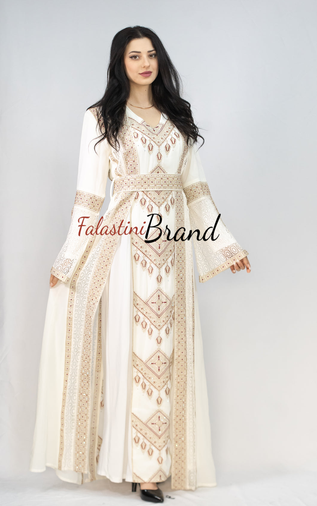 Elegant 2 Pieces White and Gold Palestinian Embroidered Dress
