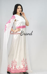 Stunning White And Pink Smooth Satin Palestinian Embroidered Dress