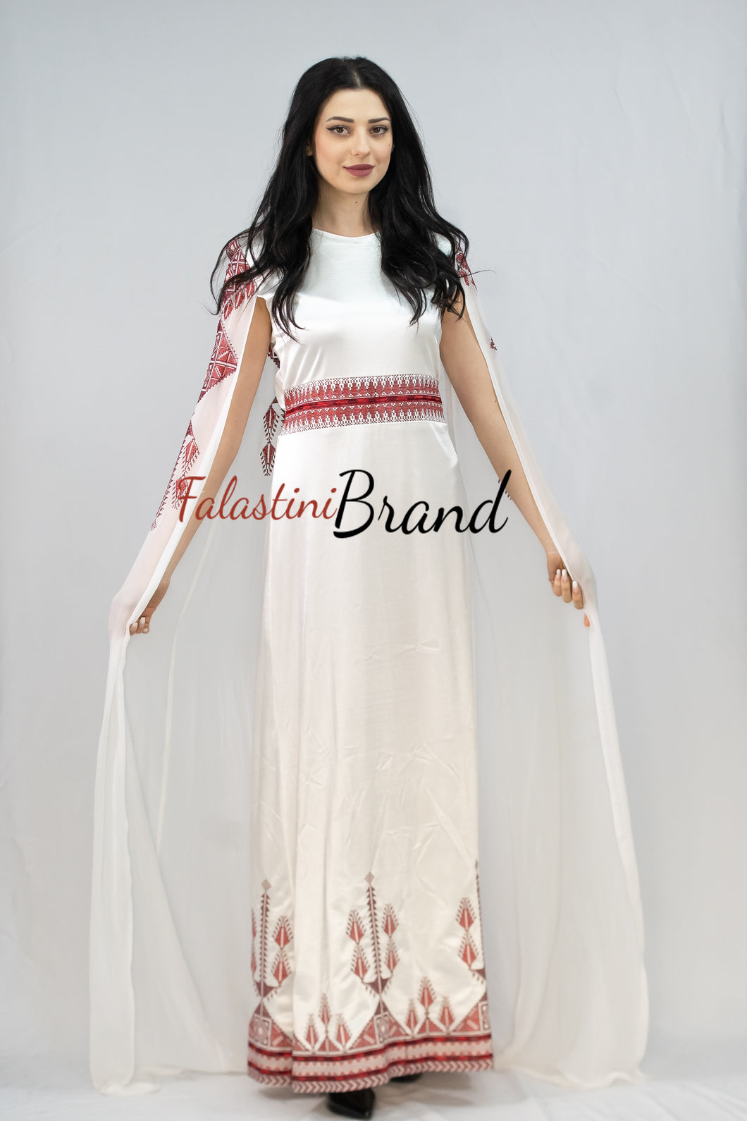 Stunning White And Red Smooth Satin Palestinian Embroidered Dress