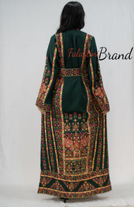 Green Classy Palestinian Embroidered Thobe Dress With Multicolored Embroidery