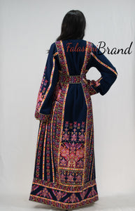 Navy Classy Palestinian Embroidered Thobe Dress With Multicolored Embroidery