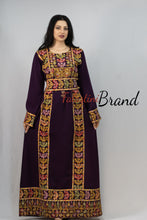 Classy Purple Palestinian Embroidered Thobe Dress With Multicolored Embroidery