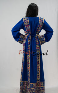Classy Royal Blue Palestinian Embroidered Thobe Dress With Multicolored Embroidery