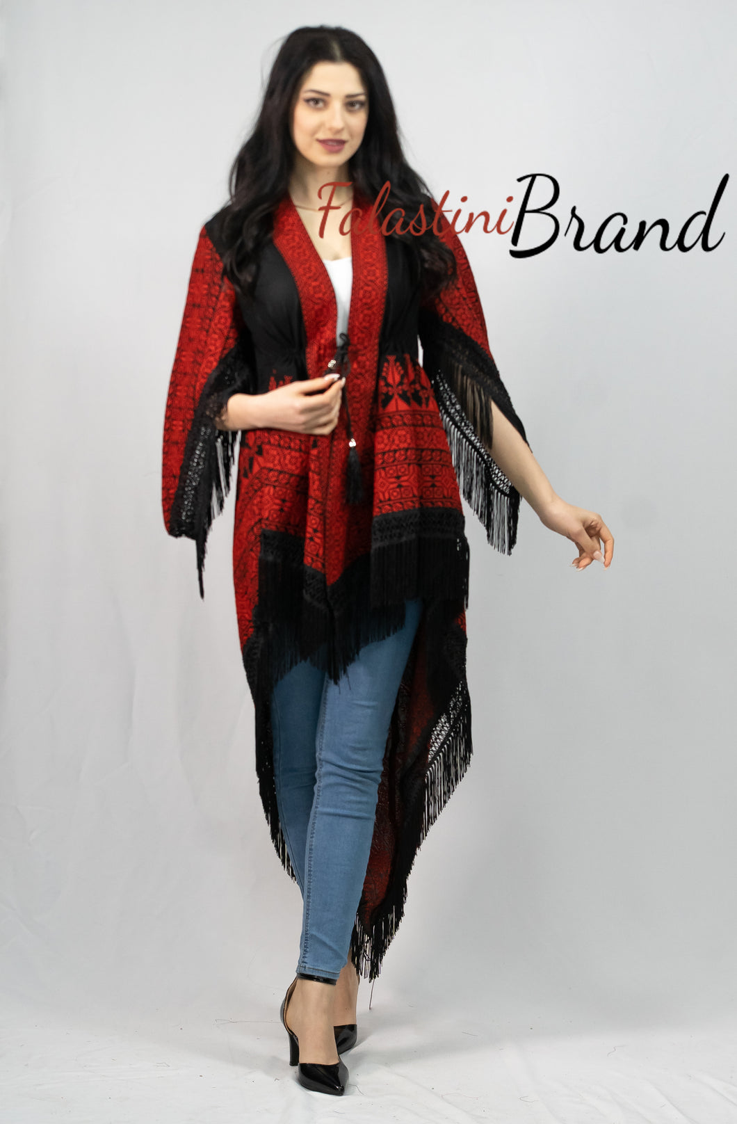 Palestinian Black And Red Long Embroidered Shawl Blouse