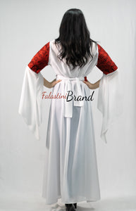 White And Red Georgette Embroidered Open Abaya Maxi Dress Long Split Sleeve