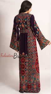 Elegant Purple Palestinian Embroidered Henna Thobe Dress Inlaid With Rhinestones