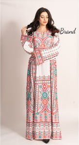 Elegant White Palestinian Embroidered Henna Thobe Dress Inlaid With Rhinestones