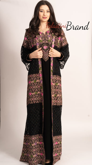 M1 Marvelous Dantel Two Pieces Black and Pink Palestinian Embroidered Abaya