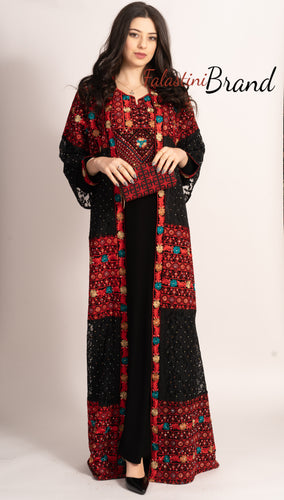 M2 Marvelous Dantel Two Pieces Black and Red Palestinian Embroidered Abaya