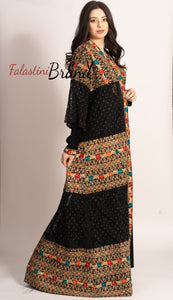 M3 Marvelous Dantel Two Pieces Black and Golden Palestinian Embroidered Abaya
