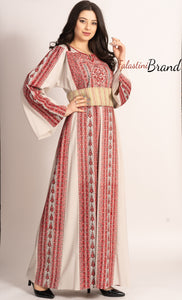 Fabulous Palestinian Embroidered White & Red Thobe Dress Long Sleeve Kaftan Palestinian Amazing Embroidery