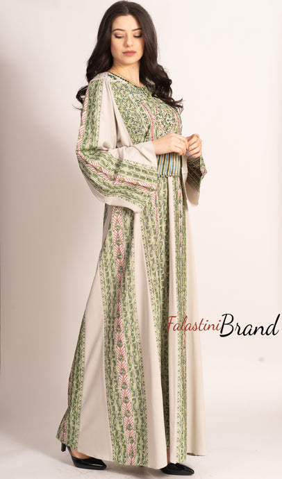 Fabulous Palestinian Embroidered White & Green Thobe Dress Long Sleeve Palestinian Amazing Embroidery
