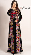 C1 Amazing Floral Palestinian Embroidered Thobe Dress Long Sleeves Cross Stitch Embroidery