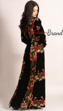 C2 Amazing Floral Palestinian Embroidered Thobe Dress Long Sleeves Cross Stitch Embroidery