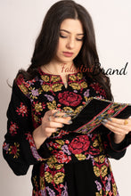C3 Amazing Floral Palestinian Embroidered Thobe Dress Long Sleeves Cross Stitch Embroidery