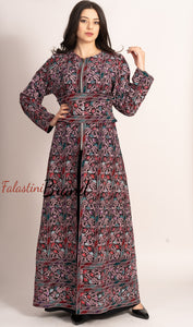 Wonderful Metallic Silver Threads Palestinian Embroidered Thobe Dress Long Sleeve