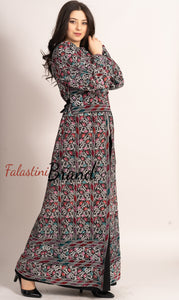 Amazing Metallic Silver Threads Palestinian Embroidered Thobe Dress Long Sleeve