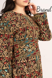 Amazing Metallic Golden Threads Palestinian Embroidered Thobe Dress Long Sleeve