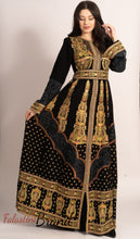 Amazing Royal Full Of Details Golden Embroidered Dress Kaftan Gown