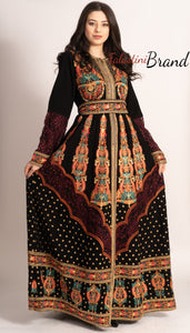 Amazing Royal Full Of Details Golden Red Embroidered Dress Kaftan Gown