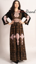 Amazing Full Of Details Golden Pink Palestinian Black Embroidered Dress
