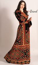 Fire Color Palestinian Embroidered Thobe Dress Stunning Embroidery