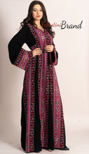 Amazing Pink Embroidered Palestinian Thobe Dress Long Sleeve