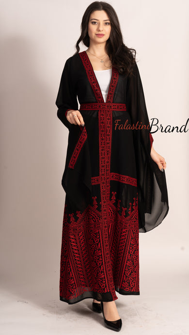 Wonderful Palestinian Black & Red Georgette Embroidered Open Abaya Long Slit Sleeve