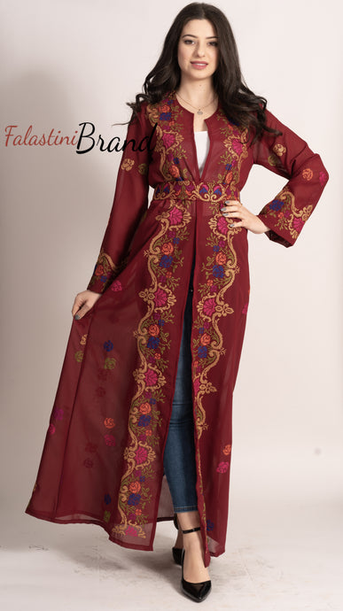 Palestinian Burgundy Georgette Embroidered Open Abaya Maxi Dress Long Sleeve