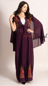 Stunning Purple Georgette Embroidered Open Cape Abaya