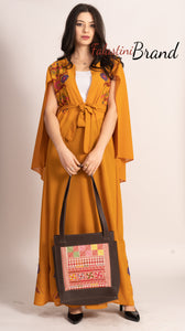 Stunning Ochre Georgette Embroidered Open Cape Abaya