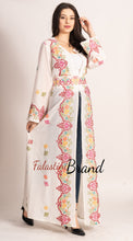 Palestinian White Georgette Embroidered Open Abaya Maxi Dress Long Sleeve