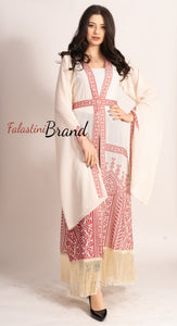 Fringe Hem Palestinian Off White Georgette Embroidered Open Abaya Long Slit Sleeve Burgundy Embroidery