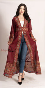 Breathtaking Palestinian Burgundy Georgette Embroidered Open Abaya Dress Long Sleeve With Stylish Embroidery